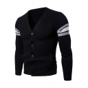 Mens Simple Stripe Long Sleeve V-Neck Button Down Slim Fitted Cardigan Knitwear