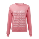Cool Letter HOTLINEBLING Printed Basic Crewneck Long Sleeve Pink Casual Loose Sweatshirt
