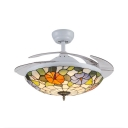 Flower Bedroom LED Ceiling Mount Light Stained Glass Remote Control Frequency Conversion Ceiling Fan