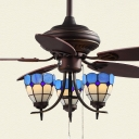 Vintage Grid Bowl Ceiling Fan Metal 3 Lights Bronze Ceiling Fixture with Crystal for Living Room