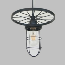 Industrial Wire Frame Pendant Light with Wheel 1 Head Metal Pendant Lamp in Black for Bar Cafe