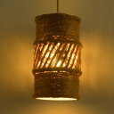 Rustic Stylish Beige Hanging Light Hollow Cylinder Shade 1 Light Manila Rope Pendant Light for Balcony