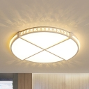 Acrylic Circle LED Ceiling Mount Light Living Room Modern Flush Light with Crystal in Warm/White