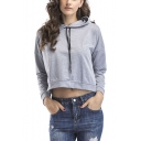 Womens Unique Split Back Solid Color Long Sleeve Cropped Hoodie