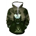 Cool Dark Green Comic Chain Figure 3D Printed Long Sleeve Casual Loose Hoodie