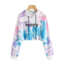 Fancy Cool Tie Dye Letter HAPPY Pattern Long Sleeve Casual Loose Cropped Hoodie