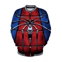 Popular Blue and Red Spider Far From Home Rib Stand Collar Long Sleeve Button Down Baseball Jacket