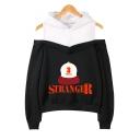 Popular Stranger Things Letter Hat Print Cold Shoulder Long Sleeve Fashion Hoodie