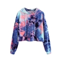 Fashion Tie Dye Painting Long Sleeve Casual Cropped Pullover Hoodie