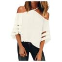Popular Simple Plain Halterneck Cold Shoulder Organza Panel Sleeve Casual Loose T-Shirt