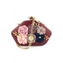 Women's Fashion Floral Pearl Embellishment Evening Clutch Bag for Wedding 20.5*6.5*15 CM