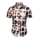 Mens Unique Fashion Printed Short Sleeve Button Up Comfort Slim T-Shirt