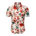 Men's Summer Fashion Rose Floral Printed Basic Short Sleeve White Slim Shirt