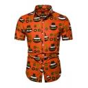 Retro African Tribal Printed Short Sleeve Orange Slim Button Shirt for Men