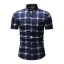 Mens New Stylish Plaid Printed Concealed Button Front Short Sleeve Slim Shirt