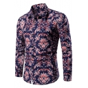 Hot Popular Floral Printed Spread Collar Long Sleeve Button Front Slim Shirt for Men