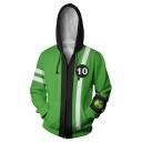 New Stylish Green Comic Cosplay Costume Long Sleeve Zip Up Casual Loose Hoodie