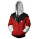 Popular Black and Red Comic Cosplay Costume Long Sleeve Zip Up Hoodie
