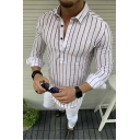 Popular Vertical Stripe Printed Button Spread Collar Long Sleeve Fitted Shirt for Men