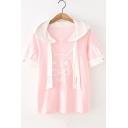 Summer Girls Lovely Pink Cartoon Rabbit Pattern Short Sleeve Hooded Casual T-Shirt