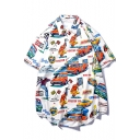 Guys Cool Allover Car Print Button Front White Cotton Loose Hawaiian Shirt