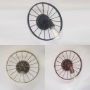 Cafe Bare Bulb Sconce Light Metal 1 Light Antique Aged Brass/Black/Copper Wall Light with Wheel