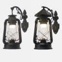 Wrought Iron Hanging Kerosene Sconce Balcony One Light Rustic Stylish Wall Light in Antique Copper/Black/Heritage Brass
