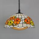 Cafe Desert Rose Pendant Lamp Stained Glass 1 Light Tiffany Rustic Stylish Suspension Light