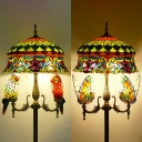 5 Lights Crown Floor Light with Butterfly/Parrot Elegant Style Stained Glass Standing Light