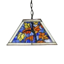 Stained Glass Trapezoid Pendant Light with Leaf Restaurant KTV Single Light Rustic Stylish Hanging Lamp