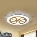 Nursing Room Compass Ceiling Lamp Acrylic Nautical Style Stepless Dimming/White Lighting LED Flush Light