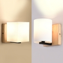 Nodic Style Frosted Glass Shade Square Wall Light in Wood Finish for Bedroom