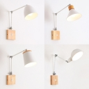 Rotatable Contemporary White Wall Light Single Light Wood Metal Sconce Light in White for Bedroom