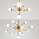 Opal Glass Orb Shade Pendant Light Bedroom Study Room 4/13 Lights Modern Stylish Chandelier in Gold