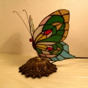 Butterfly Study Room Desk Light Stained Glass One Light Rustic Tiffany Desk Lamp with Plug-In Cord