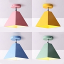 Candy Colored Craftsman Ceiling Mount Light 1 Head Macaron Loft Flush Light for Kid Bedroom