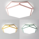 Nordic Style Polyhedron Ceiling Lamp Acrylic Green/Pink/Yellow LED Flush Light with Warm/White Lighting for Foyer