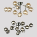Orb Shade Restaurant Ceiling Light Metal 12 Lights Contemporary Flush Light in Gold/Silver
