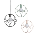 One Bulb Wire Frame Pendant Light Nordic Stylish Metal Hanging Light in Black/Green/Pink for Restaurant