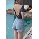 Summer Hot Popular Sexy Open Back Short Sleeve Casual Loose T-Shirt