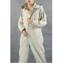 Guys Cotton Simple Plain Light Grey Hooded Long Sleeve Zipper Front Mechanic Workwear Coveralls
