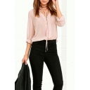 Chic Pink Tied V-Neck Long Sleeve Solid Color Casual Button Down Chiffon Blouse Top