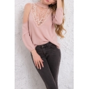 Summer Pink Chic Lace-Inserted Cold Shoulder Long Sleeve Plain Chiffon Blouse Top