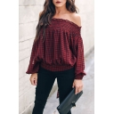 Burgundy Plaid Printed Ruffled Off the Shoulder Long Sleeve Blouse
