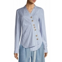 Classic Blue Pinstripe Print V-Neck Long Sleeve Irregular Button Down Fitted Shirt Blouse