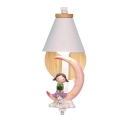 Resin Metal Cone Wall Light Boy Girl Bedroom 1 Light Lovely LED Sconce Light with Kid Moon