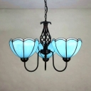 Traditional Dome Ceiling Lamp Glass 3 Lights Blue Chandelier Light for Restaurant Hallway