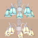 Cone Living Room Chandelier Glass Metal 5 Lights Tiffany Style Ceiling Light in Blue/White