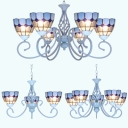 Tiffany Style Dome Chandelier 3/5/6 Lights Stained Glass Pendant Lamp in Blue for Bedroom
