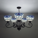 Domed Living Room Chandelier Stained Glass 5 Lights Tiffany Style Baroque Hanging Light